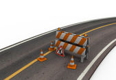 Road With Barrier and Cones — Stock Photo