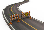 Road With Barriers and Cones — Stock Photo