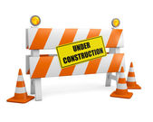 Under Construction Barrier With Cones — Stock Photo