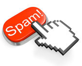Red Spam! button and hand cursor — Stock Photo
