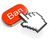Red Ban button and hand cursor — Stock Photo