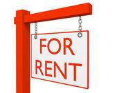 Rouge immobilier pour louer signe isolé sur fond blanc 2 — Photo