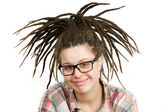 Young woman with dreadlocks wearing glasses — Stock Photo