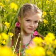 Little girl sitting in the grass and flowers — Stock Photo