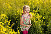 Funny little girl among yellow wildflowers — Stock Photo