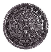 Medallion engraved with the Mayan calendar — Stock Photo