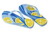 пара тапочек смарт-синий желтый пляж — Стоковое фото