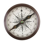 Antique compass in a brass case — Stock Photo