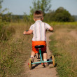 Little boy rides a tricycle — Stock Photo