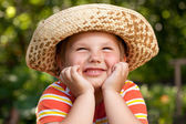 Round-faced boy in a hat — Stock Photo