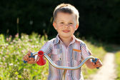 Little boy in the striped shirt — Stock Photo