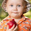 Little boy with a red apple — Stock Photo