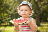 Charming babe with a big slice of watermelon — Stock Photo