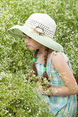 Girl in the white hat — Stock Photo