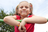 Smiling girl with pigtails — Foto de Stock