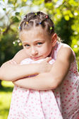 Little girl was wondering about something — Stock Photo