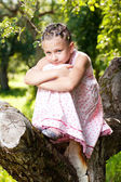 Little girl climbed up a tree — Stock Photo