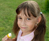 Girl with the remnants of ice cream — Stock Photo