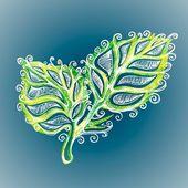 Doodle ink leaf pattern — Stock Vector
