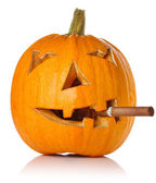 Halloween Pumpkin.Scary Jack O'Lantern smoke cigar — Stock Photo