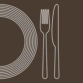 Assiette, fourchette et couteau — Vecteur
