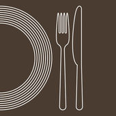 Plate, knife and fork — Vector de stock