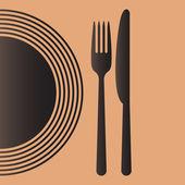 Talíř, nůž a vidlička — Stock vektor