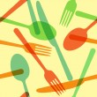 Colorful cutlery pattern — Stock Vector