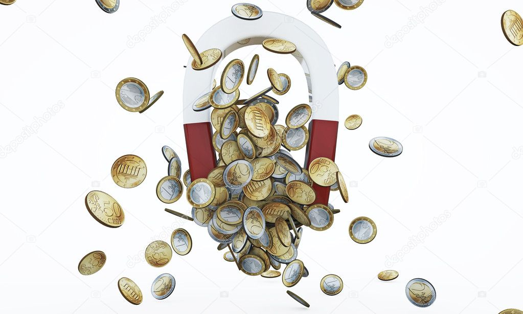 Money magnet with euro coins — Stock Photo #11398920