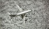 Boeing letící nad downtown — Stock fotografie