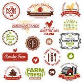 Vintage et étiquettes de ferme moderne — Vecteur