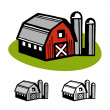 Barn and silos — Stock Vector