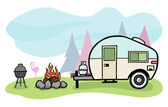 Camper illustration — Stock Vector