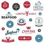 étiquettes de fruits de mer — Vecteur