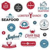 Mořské plody štítky — Stock vektor