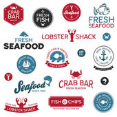 Seafood labels — Vettoriale Stock