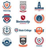 Emblemi di università e college — Vettoriale Stock