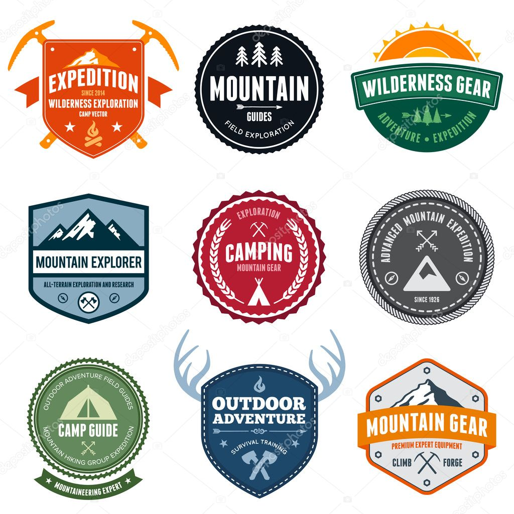 Set of mountain adventure and expedition badges — Stock Vector #11763863
