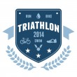 Triathlon badge emblem design - Stock Vector