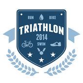 Triathlon badge emblem design — Stock Vector
