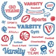 School sports hand-drawn elements — Stock Vector