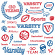 School sports hand-drawn elements - Stock Vector