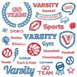 School sports hand-drawn elements — Stock Vector