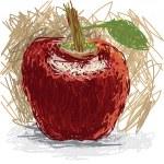 Closeup illustration of a fresh apple fruit. — Stock Vector