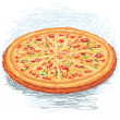 Stock Vector: Whole freshly baked pizza