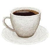 Café quente em um prato — Vetor de Stock