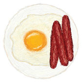 Sunny side up egg and hotdogs — Stock Vector
