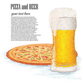 Glass of ice cold beer and a whole pizza — Stock Vector