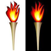 Torcia con fiamma — Vettoriale Stock