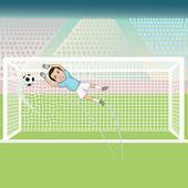 Goal keeper failed saving the soccer ball — Stock Vector